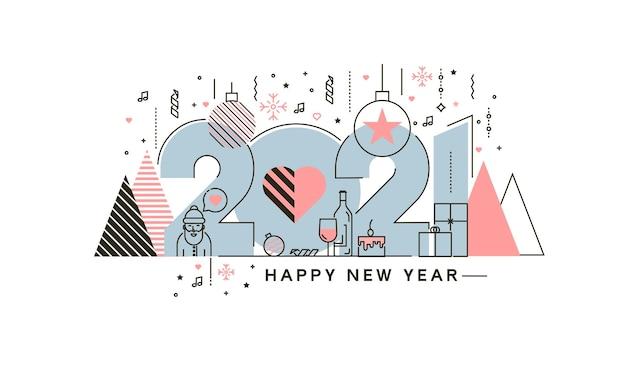 Platte ontwerpconcept van happy new year 2021 wenskaart, trendy en minimalistische kaart of achtergrond. modern dun lijnontwerp.