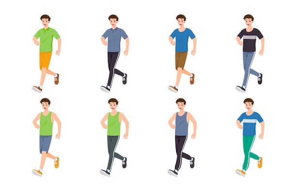 Platte ontwerpconcept van man met verschillende poses, presentatie van procesgebaren en acties. vector cartoon karakter ontwerpset.