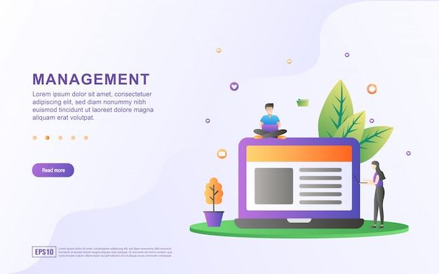 Platte ontwerpconcept van management. mensen beheren bedrijfsgegevens. beheer tijd, analyseer en los problemen op.