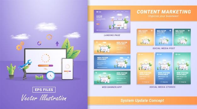 Platte ontwerpconcept van update-systeem. het proces van upgraden naar systeemupdate, het vervangen van nieuwere versies en het installeren van programma's.