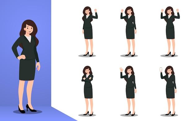 Platte ontwerpconcept van zakenvrouw met verschillende poses, werk- en presentatieproces gebaren, acties en poses. vector cartoon karakter ontwerpset.