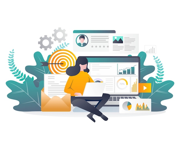 Platte ontwerpconcept verkoop op sociale media en digitale marketing met seo-optimalisatie