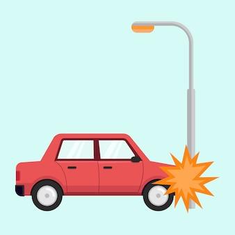 Platte ontwerpconcept voor auto-ongeluk