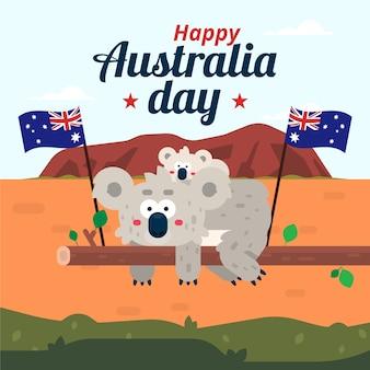 Platte ontwerpconcept voor de dag van australië