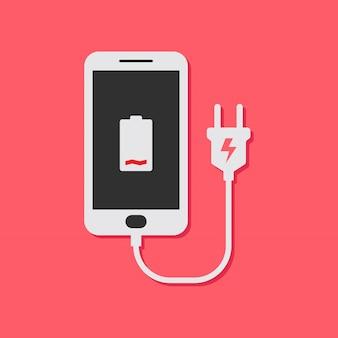 Platte ontwerpconcept voor het opladen van de batterij van de mobiele telefoon