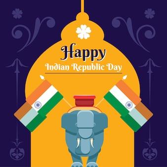 Platte ontwerpconcept voor indiase republiek dag