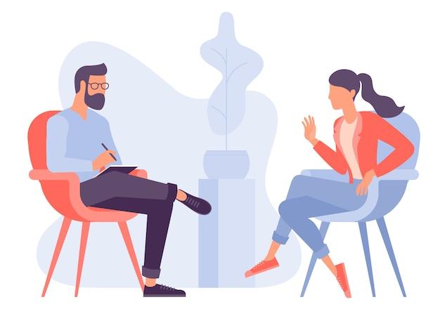 Platte ontwerpconcept voor psychotherapie sessie. patiënt met psycholoog, psychotherapeut. psychiatersessie in kliniek voor geestelijke gezondheidszorg.