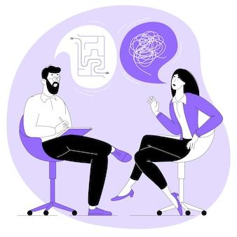 Platte ontwerpconcept voor psychotherapie sessie