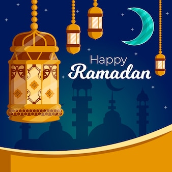 Platte ontwerpconcept voor ramadan