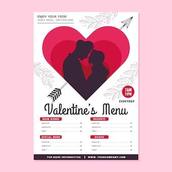 Platte ontwerpconcept voor valentijnsdag menu