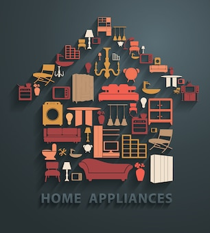 Platte ontwerpconcepten huishoudapparatuur pictogrammen