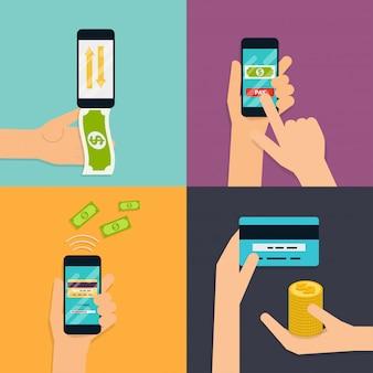 Platte ontwerpconcepten van online betalingsmethoden. internetbankieren, online aankopen en transacties, elektronische overboekingen en bankoverschrijving.