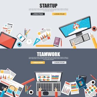 Platte ontwerpconcepten voor bedrijfsmarketing, analyse, teamwork, analyse, strategie en s