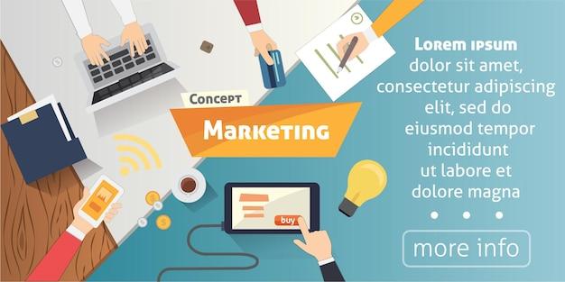 Platte ontwerpconcepten voor contentmarketing, doelgroep zoeken, mobiel bankieren.