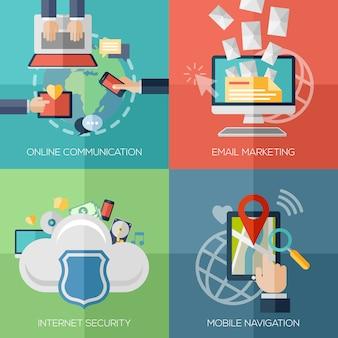 Platte ontwerpconcepten voor online communicatie, internetbeveiliging, cloud computing. mobiele navigatie.