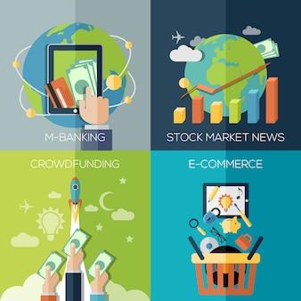 Platte ontwerpconcepten voor zaken, financiën, economie, investering, marketing, consulting, financiële markt, bedrijfsstrategie, e-commerce.