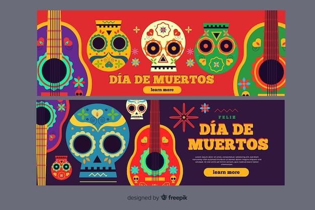 Platte ontwerpdag van de dode banners
