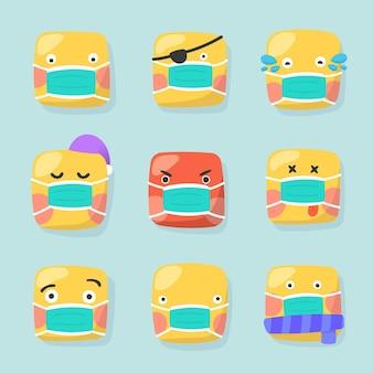 Platte ontwerpemoji met gezichtsmaskerpakket