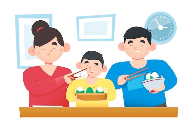 Platte ontwerpfamilie die zongzi eet
