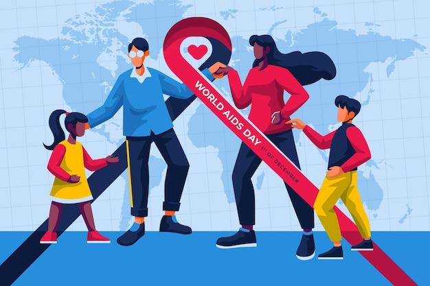 Platte ontwerpfamilie geïllustreerd voor aids-dagevenement