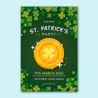 Platte ontwerpflyer voor st. patrick's day sjabloon