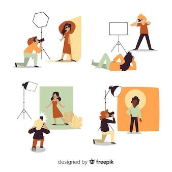Platte ontwerpfotografen die foto's van modellen maken