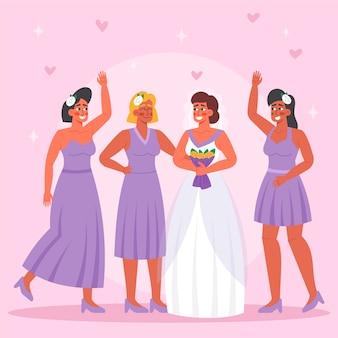 Platte ontwerpgroep van bruidsmeisjes met bruid