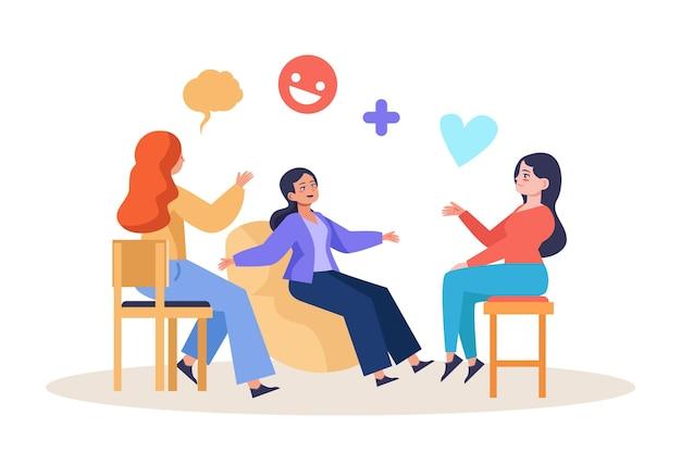 Platte ontwerpgroepstherapie met karakters