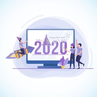 Platte ontwerpillustratie om het nieuwe jaar 2020 te vieren