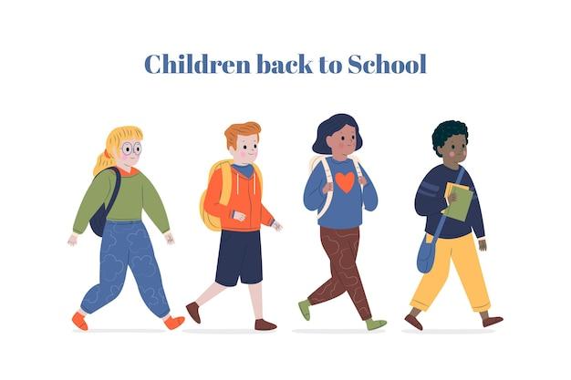 Platte ontwerpkinderen terug naar school