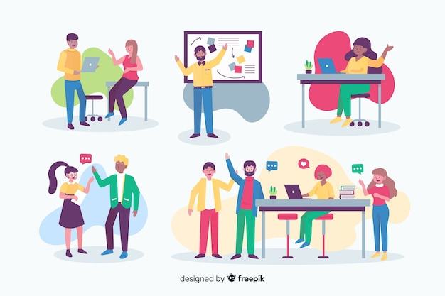 Platte ontwerpmensen die op kantoor werken