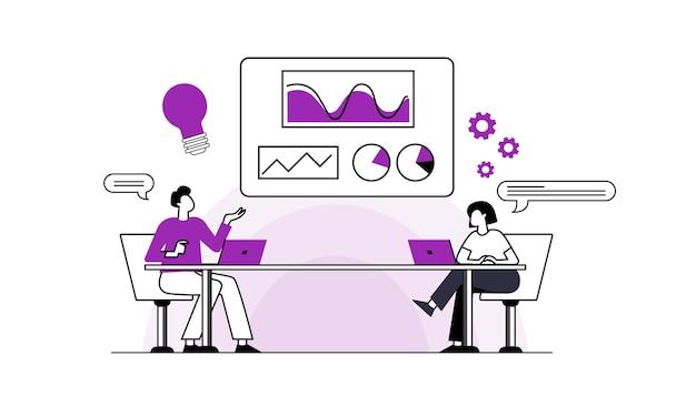 Platte ontwerpmensen iconen van start-up projectontwikkeling bedrijfsstrategie en analyse