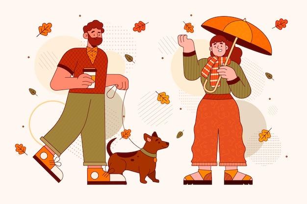 Platte ontwerpmensen in de herfst met hond