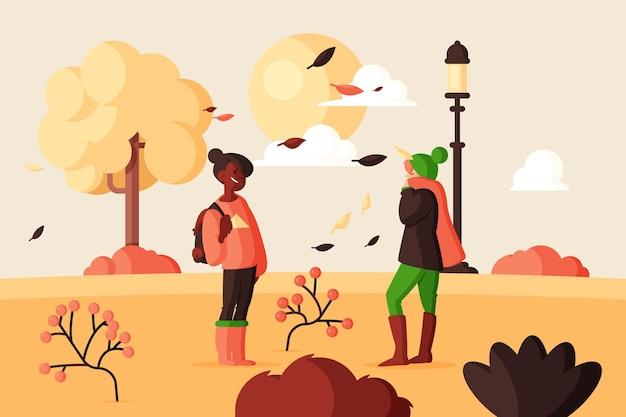 Platte ontwerpmensen in de herfst
