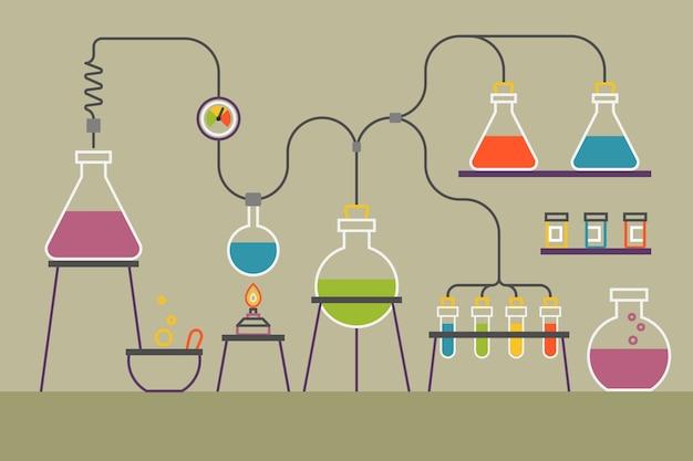 Platte ontwerppakket van science lab-objecten