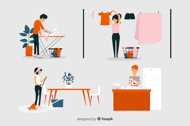 Platte ontwerppersonages die ander huishoudelijk werk doen