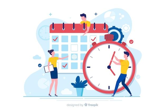 Platte ontwerppersonages die timemanagement doen