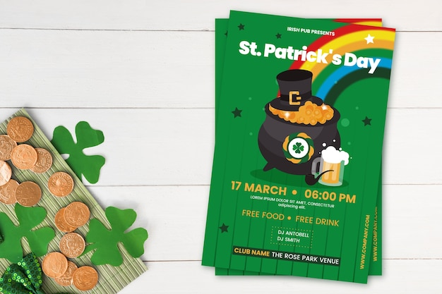Platte ontwerpposter voor st. patrick's dag