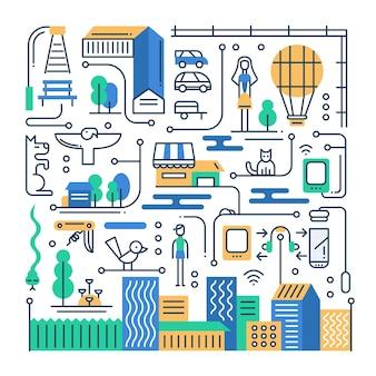 Platte ontwerpsamenstelling met stadsgebouwen