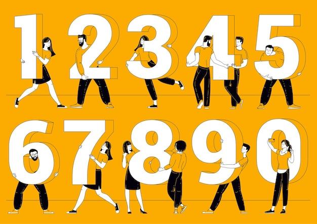 Platte ontwerpset figuur symbolen. mensen met nummertekens op verschillende binnen- en buitenachtergronden.