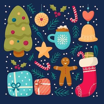 Platte ontwerpset van kerst elementen