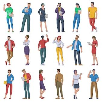 Platte ontwerpset van multi-etnische mannelijke en vrouwelijke karakters