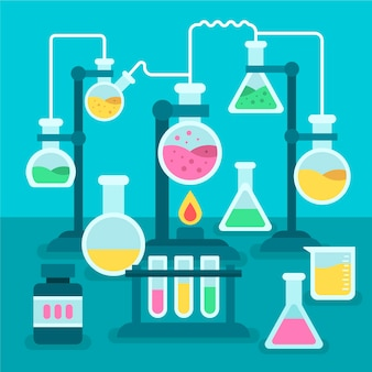 Platte ontwerpset van science lab-objecten