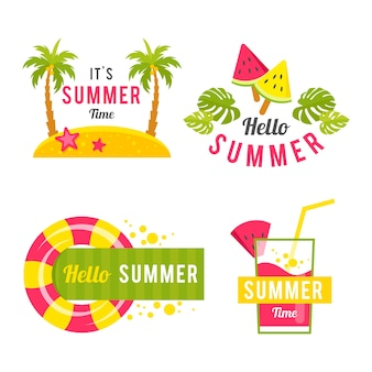 Platte ontwerpset zomer etiketten