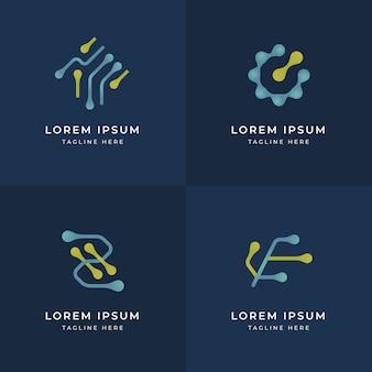 Platte ontwerpsjablonen voor elektronica-logo's