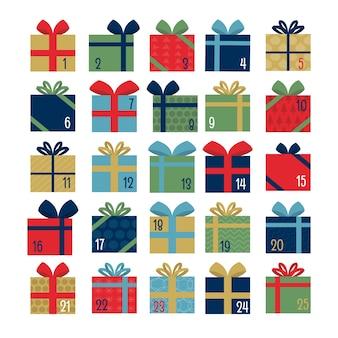Platte ontwerpsjabloon adventkalender