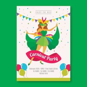 Platte ontwerpsjabloon carnaval feest folder