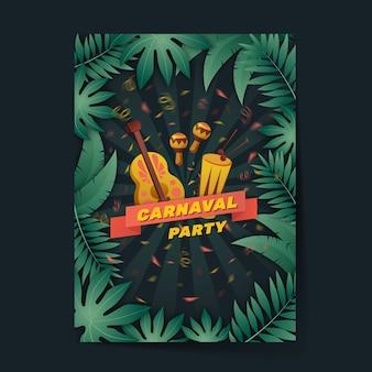 Platte ontwerpsjabloon carnaval partij folder