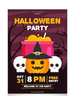Platte ontwerpsjabloon halloween party poster