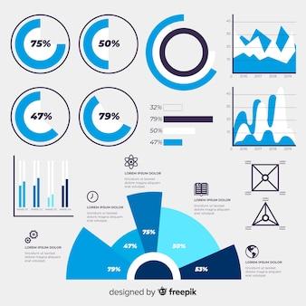 Platte ontwerpsjabloon infographic met grafieken